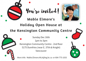 Mable's Holiday Open House @ Kensington Community Centre - 2nd Floor